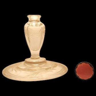 1920's Fenton Perfume Bottle Boxtle w/ Pink Guilloche & Sterling Top..missing the bottom
