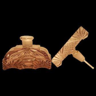 Superb  Czech Amethyst Perfume Bottle Art Deco Cut Glass Dauber Intact!