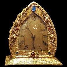 Rare Vintage 1920's Jeweled Vanity Clock , Gold Ormolu, Filigree- Works