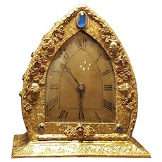 Rare Vintage 1920's Jeweled Vanity Clock , Gold Ormolu, Filigree- Works