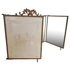Antique c1898 French Triple Vanity Beveled Mirrors Creamy White Churbs Excellent