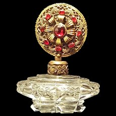 Vintage Czech Jeweled Perfume Bottle w/ Ruby Red Stones
