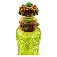 Superb Antique Austria Jeweled Perfume Bottle Green Glass