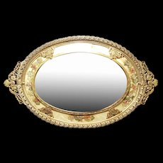 Details about   Vintage Mirrored Vanity Tray w/ silk & embroidery borders under glass