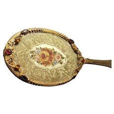 Rare 1920's Jeweled Silvercraft Hand Mirror w/ Lace insert Gold Ormolu