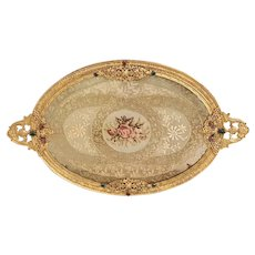 1920's Jeweled Silvercraft Vanity Tray w/ Lace insert