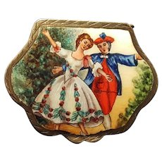 Vintage 800 Sterling & Enamel Pill Box Handpainted Dancing Couple