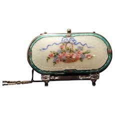 Antique 1920's D.F.B. Co. Compact Guilloche Blue French Bow Dance Purse