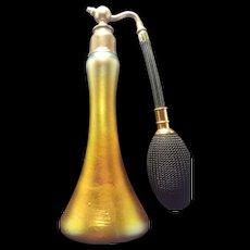 1920's Steuben Glass Perfume Bottle Atomizer Aurene Gold