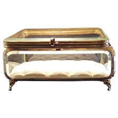 "9.5"" Rare Large Antique Ormolu French Casket Box Vitrine Tufted Jewelry Box"