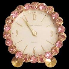 VTG Pink Jeweled Phinney-Walker Rhinestone Vanity Clock Works!