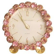 VTG Pink Jeweled Phinney-Walker Rhinestone Vanity Clock Works!
