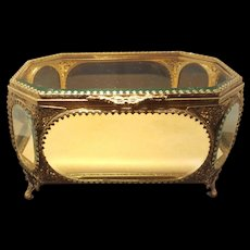 Jewelry Casket Beveled Glass Ormolu Vitrine Display Case Trinket Box