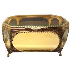 """Jewelry Casket 9.5"""" Beveled Glass Ormolu Vitrine Display Case Trinket Box"""