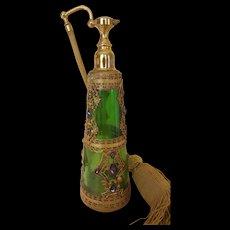 Rare 1920's Jeweled E & J B Empire Art Gold Green Glass Perfume Bottle Atomizer