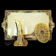 Magnificent 1920's Highly Jeweled 3 pc. Vanity Set w/ Tray, Perfume Atomizer Bottle & Hand Mirror
