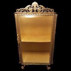 Vintage Stylebuilt Gold Stand up Casket Trinket box Vatrine Beveled Glass