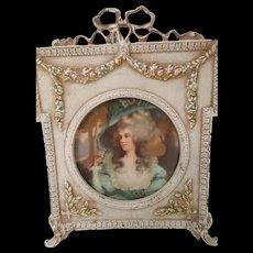 VTG French Metal Frame w/ Miniature Portrait & Glass