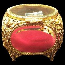 VTG Matson Casket w/ Beveled Glass Red Cushion
