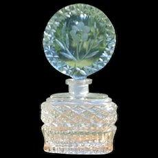 VTG Lrg. Czech Blue Perfume Bottle cut glass w/ DAUBER Intact  signed Czechoslovakia