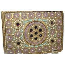 Vintage French Purple Jeweled Compact w/ gold ormolu and enamel