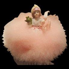 1920's Pink Swan's Down Powder Puff w/ Half Doll