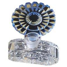 VTG Blue Cut Glass Perfume Bottle w/ Dauber Intact made in Czechoslovakia  Czech