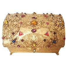 1920's Apollo Studios Jeweled Chest Casket Trinket Box