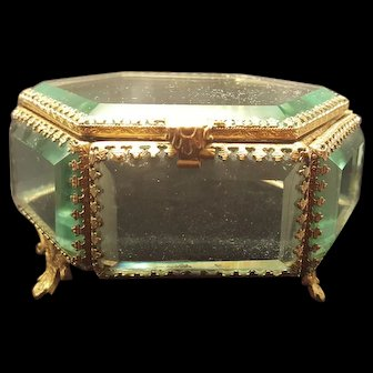 Antique French Jewelry Casket w/ Black Cushion Gold Ormolu Beveled Glass Trinket Box
