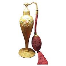 Vintage DeVilbiss Perfume Bottle Atomizer 22kt Gold Encrusted Enamel Finish