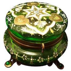 Antique Jeweled Bohemian Moser Glass Casket Box