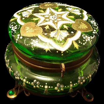 Antique Jeweled Bohemian Moser Glass Casket Box