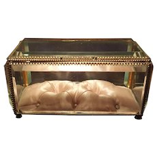 """Antique 6"""" French Casket w/ Beveled Glass & luxury Pink Silk Tufted Cushion"""