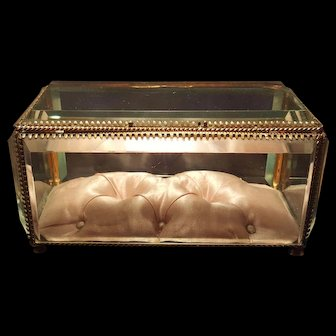 "Antique 6"" French Casket w/ Beveled Glass & luxury Pink Silk Tufted Cushion"