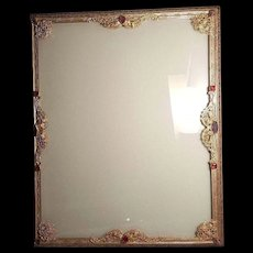 1920's Gold Silvercraft Jeweled Picture Frame w/Glass 8.5 x 10.5 inches