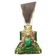 1920's Czech Filigree Green Jeweled Perfume Bottle ~signed Czechoslovakia