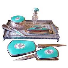 c1925 F & B Sterling Silver & Turquoise Guilloche 8 pc. Vanity Set Perfume Bottle, Powder Jar, Grooming Set
