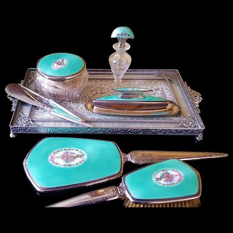 c1925 F & B Sterling Silver & Turquoise Guilloche 8 pc. Vanity Set Perfume Bottle, Powder Jar, Grooming Set