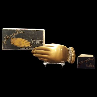 Rare Gold Gesture Hand Compact w/ Diamond Bracelet By Volupte w/ ORG. BOX