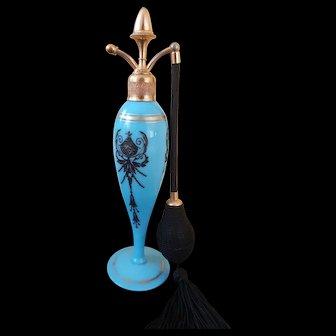 1922 DeVilbiss Cambridge Azurite Blue Glass Perfume Atomizer w/Deluxe Acorn Top