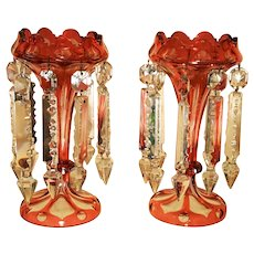 """Pair Antique 8.5"""" tall Cranberry Cut to Clear Bohemian Glass Mantle Lusters Circa 1890"""