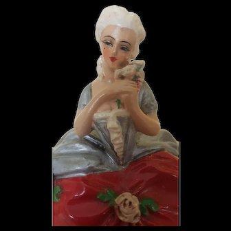 Antique French Terre De Retz Powder Box Jar Doll - Papier Mache Great Condition