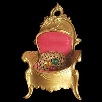 Antique French Gold Chair Trinket Box w/ Pink Silk Lining / Jewelry Casket