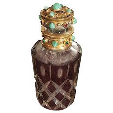Antique Austrian Jeweled Perfume Bottle w/ Purple Cut to Clear Glass
