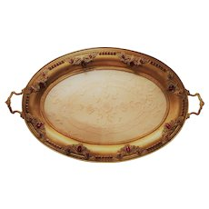 Gorgeous Gold 1920's Ruby Red Jeweled Tray w/ Lace Insert  18 x 10.5