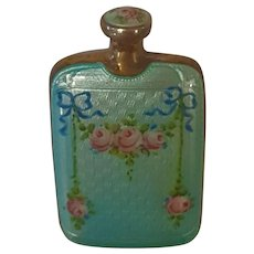 Sterling Silver & Double Sided Blue Guilloche Scent Perfume Bottle w/ French Bows Pink Roses