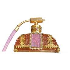 Vintage Czechoslovakian Pink Jeweled Perfume  Atomizer Bottle Czech