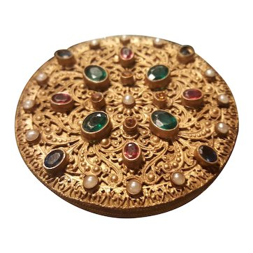 """Antique Austrian Jeweled Compact lrg 3"""" * Made in Austria"""