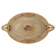 Antique Jeweled Silvercraft Vanity Tray w/ Lace Insert Round