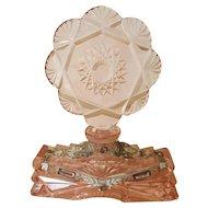 1920's Czech Filigree Pink Jeweled Perfume Bottle w/ Intact Dauber Czechoslovakia